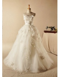 Dreaming romantic handmade flowers appliqued sweetheart sweeping train a-line wedding dresses hy-007