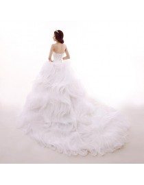 Oganza fabric detachable cathedral length train 2 meters length for wedding dress DT-001