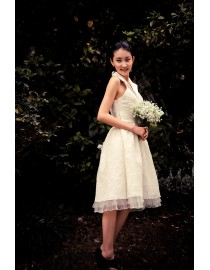 Simple 50's halter knee length short lace real sample wedding dress 2014 TB-169