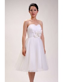 Simple sweetheart knee short length tulle real sample wedding dress 2014 TB-176