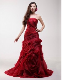 Simple red strapless rosettes skirt sweeping train organza a-line real sample wedding dress 2014 TB-299