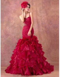 Gorgeous red one shoulder sweetheart fit and flare fishtail ruffle skirt sweeping train organza real sample wedding dress lace appliques seuins beaded 2014 TB-300