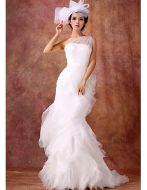One shoulder ivory white pink tulle sheath a-line floral sweeping train real sample wedding dresses 2014 TB-307