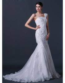 Stunning one strap shoulder lace appliques swarovski beaded mermaid sweeping train real sample wedding dresses  2014 TB-264