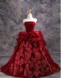 Gorgeous vera wang style strapless lace appliques red organza ball gown sweeping train wedding dresses  TB-364