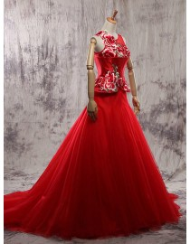 Special red illusion neckline somewhat China style embroidery peplum bodice a-line tulle skirt court train wedding dresses 2014 TB-369