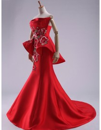 Special sweetheart red somewhat China style embroidery peplum bodice sheath court train wedding dresses 2014 TB-370