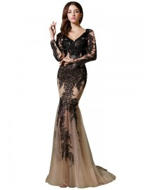 Sexy v-neck black and champagne lace appliques sequins and swarovski beaded long sleeve mermaid mother of the bride dress  2014 TB-388