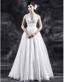Gorgeous sexy low neckline cap sleeves sheer lace appliques pearls beaded empire bodice tulle skirt sweeping train a-line wedding dresses  TB-392