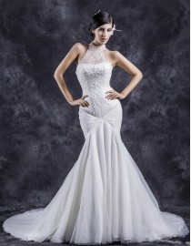 Junoesque brilliant halter beads beaded accent fit and flare trumpet mermaid court train wedding dresses TB-397