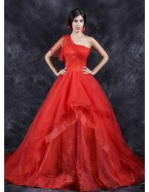 Unique one shoulder red organza lace appliques a-line court train wedding dresses  TB-398