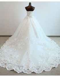 Glory sweetheart Swarovski beaded basque waistline ball gown chapel train wedding dress TB-226