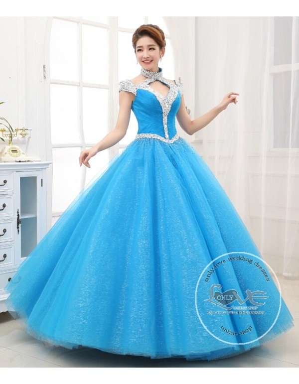 Cap sleeves halter Swarovski beaded accent skyblue red ball gown ...