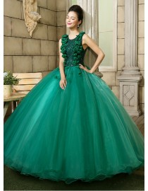 Jewel neckline darkgreen lace appliques and flowers beaded upper part green tulle skirt ball gown wedding quincenera dresses WBD-107