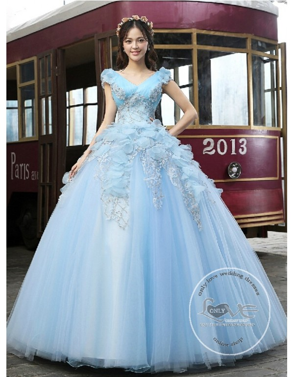Sexy V Neck Powderblue Tulle Ball Gown Flowers Lace Appliques