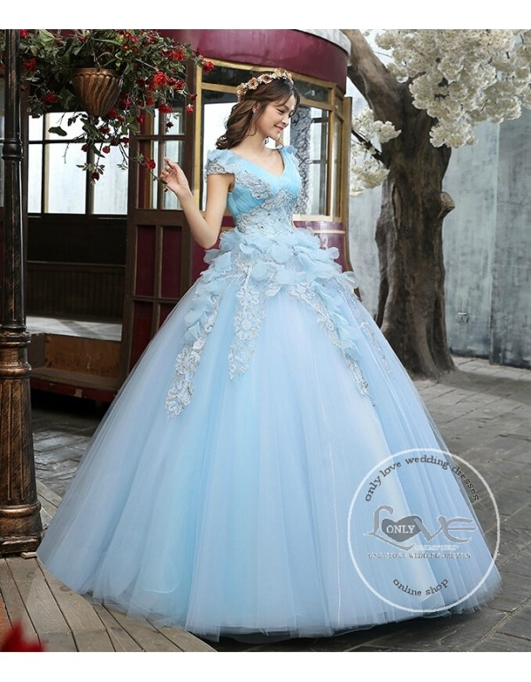 Y V Neck Powderblue Tulle Ball Gown Flowers Lace Liques