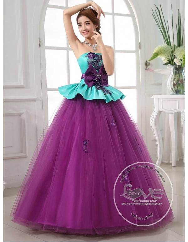 Straples green taffeta upper and purple tulle skirt lace appliques ...