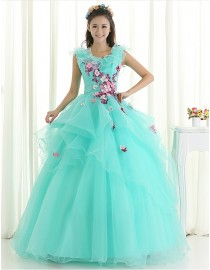 Gorgeous waterblue organza small handmade flowers pearls beaded ruffles skirt ball gown wedding quincenera dresses WBD-121