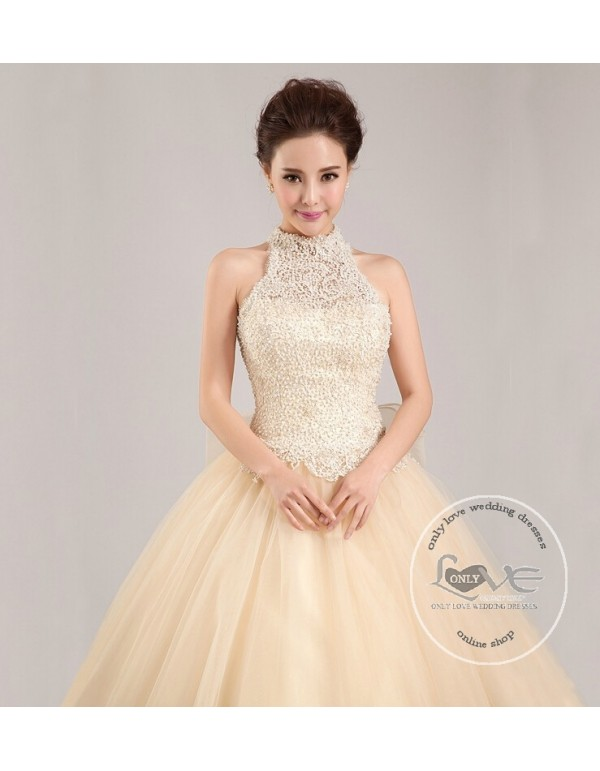 08adfd250c2 ... Gorgeous champagne halter pearls accent beaded a-line sweeping train  tulle skirt wedding dress YTB ...