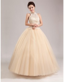 Gorgeous champagne halter pearls accent beaded a-line sweeping train tulle skirt wedding dress YTB-005