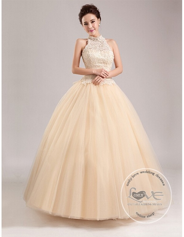 7543e4e25d3 Gorgeous champagne halter pearls accent beaded a-line sweeping train tulle  skirt wedding dress YTB ...