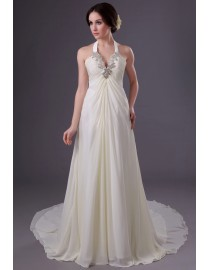 Elegant ivory halter v-neck swarovski beaded court train chiffon wedding dress YTB-127