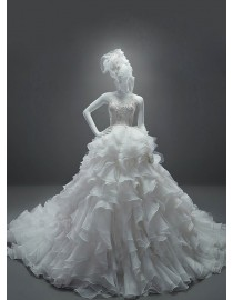 2015 spring sweetheart swarovski beaded lace appliques organza ruffled layered ball gown chapel train wedding dress 5W-006