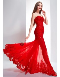 Fabulous unique red off shoulder and high collar cap sleeves sweetheart sheath floor length lace appliques swarovski beaded wedding dress  5W-029