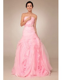 Gorgeous hot pink strapless asymmetrical dropped waistline vera wang style simple tailored a-line floral skirt sweeping train wedding dresses with flower sash TB-160