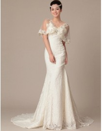 Gorgeous v-neck caplet sheath lace swarovski beaded court train wedding dress TB-164