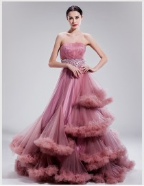 Stunning strapless empire waistline pale violet red color wonderstruck sweeping train wedding dresses TB-511