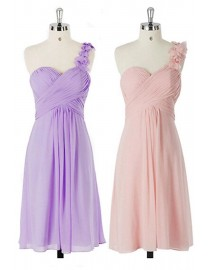 Sweetheart one shoulder short bridesmaid dress lilac pink purple Tiffany blue BMD-101
