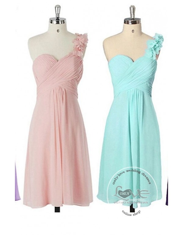 Sweetheart one shoulder short bridesmaid dress lilac pink purple ...
