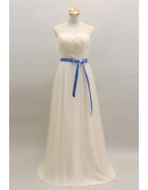 Sweetheart cream color tulle bridesmaid dress with blue sash BMD-112