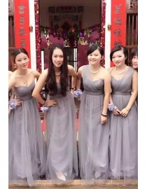 Purple gray lilac and lavender tulle bridesmaid dress BMD-055