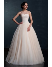 Fabulous champagne sweetheart beads beading accent a-line floor length wedding dress 2015 MS-851