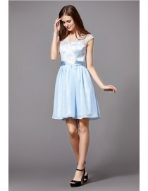 Sweetheart cap sleeves lace appliques light sky blue bridesmaid dress BMD-071