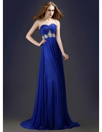 Sweetheart royal blue silk swarovski beaded waistline bridesmaid dress BMD-088