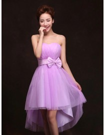 Sweetheart hi-low orchid short tulle bridesmaid dress BMD-143