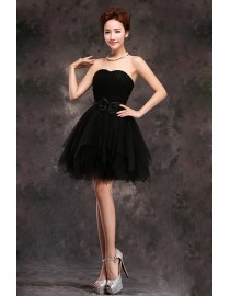 Sweetheart black short tulle bridesmaid dress BMD-155