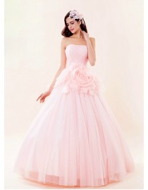 Strapless blush pink sequins beaded inside a-line tulle floor length wedding dress with big flowers embellishment 5W-036