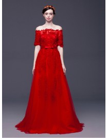 Off shoulder half sleeves red lace appliques swarovski beaded sweeping train red evening party prom dresses 2015 5W-115