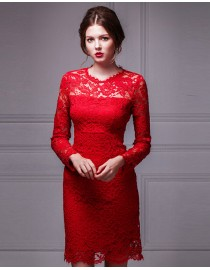 Elegant Chinese red lace appliques long sleeves above knee length little evening party prom dresses 2015 PW5-038