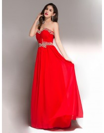 Sweetheart swarovski beaded red chiffon evening party prom dresses 2015 PW5-041