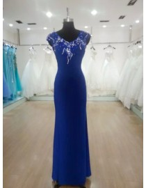 Glamorous v-neck small swarovski sequins beaded back illusion royal blue evening party prom dress 2015  JD-009