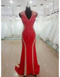 Glamorous v-neck swarovski beaded accent illusion back chinese red evening party prom dress 2015  JD-012
