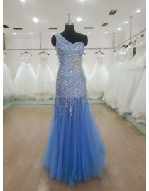 Shiny one shoulder sweetheart swarovski beaded accent red,cornflower blue,champagne evening party prom dress 2015  JD-039