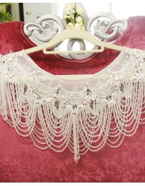 Luxurious crystals beaded accent crystals straps bridal wedding shoulder necklace wrap shawl HW-035