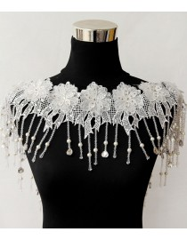 Luxurious lace appliques swarovski beaded bridal wedding shoulder necklace wrap shawl HW-045