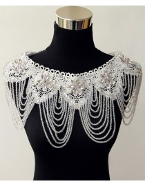 Luxurious lace appliques swarovski beaded bridal wedding shoulder necklace wrap shawl HW-047